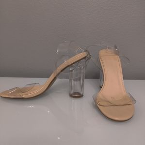 Luv mark lucite and plastic nude strap sandals 7.5